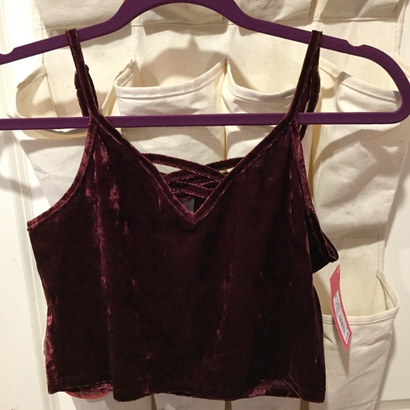 Xhilaration Tops - 🔴FREE with $10 purchase 🔴 Maroon velvet crop top